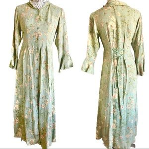 Vintage April Cornell floral prairie maxi dress XS